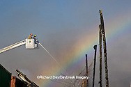 63818-02219 Firefighters extinguishing warehouse fire using aerial ladder truck, Salem, IL