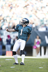 Philadelphia Eagles punter Mat McBriar (1) looks on after punting the ball during the NFL game between the Detroit Lions and the Philadelphia Eagles on Sunday, October 14th 2012 in Philadelphia. The Lions won 26-23 in Overtime. (Photo by Brian Garfinkel)