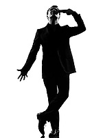 silhouette caucasian business man   despair suicide behavior full length on studio isolated white background