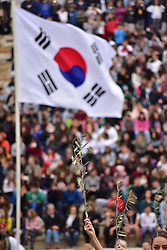 October 31, 2017 - Athens, Attiki, Greece - An olive branch that is holding a  Priestess while in background  we can see the Korea's flag, in Panathenaic Stadium. The Handover Ceremony of the Olympic Flame for Winter Games PYEONGCHANG 2018, took place today in Panathenaic Stadium in the presence of the President of Hellenic Republic Prokopis Pavlopoulos. (Credit Image: © Dimitrios Karvountzis/Pacific Press via ZUMA Wire)