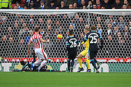 Marko Arnautovic of Stoke City (10) scores his teams 1st goal. Barclays Premier league match, Stoke city v Manchester city at the Britannia Stadium in Stoke on Trent, Staffs on Saturday 5th December 2015.<br /> pic by Chris Stading, Andrew Orchard sports photography.