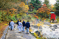 Japanese people wearing Yukata to Saino Kawara (outdoor hot spring), Kusatsu Onsen, Japan