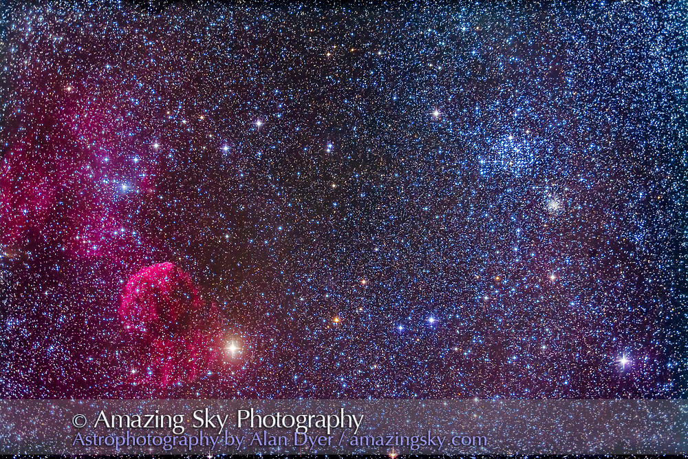 The Jellyfish Nebula, IC 443, at left near the star Eta Geminorum at left. IC 443 is a supernova remnant. At upper ight is the bright open star cluster Messier 35. The smaller and fainter star cluster below M35 is NGC 2158. M35 is 2500 light years away but NGC 2158 is 16,500 light years away. <br /> <br /> This is a stack of 10 x 6-minute exposures with the 92mm TMB apo refractor at f4/4 with the Borg 0.85x field flattener/reducer and the filter modified Canon 5D MkII at ISO 800. Taken from New Mexico.