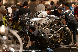 Yamaha TZRD, a raw metal custom racer built from a 1974 Yamaha RD 400 by Roland Sands of Roland Sands Design. Handbuilt Show. Austin, Texas USA. Saturday, April 13, 2019. Photography ©2019 Michael Lichter.