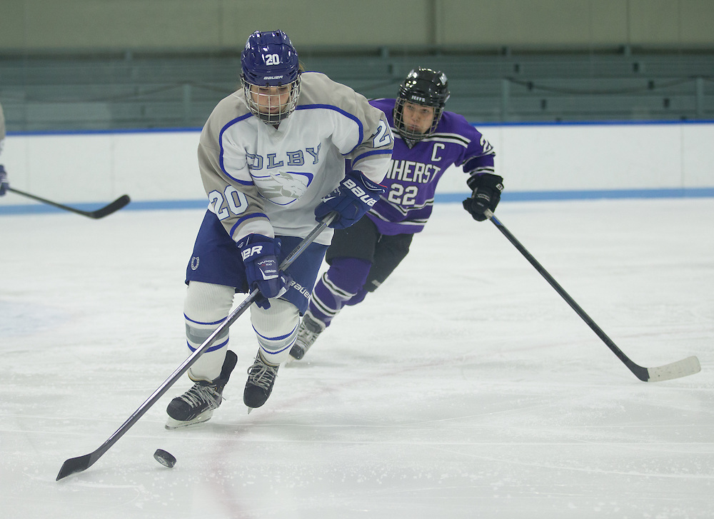 Bella Papapetros, of Colby College, in a NCAA Division III hockey game against Amherst College on January 9, 2015 in Waterville, ME. (Dustin Satloff/Colby College Athletics)