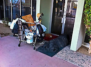 21 NOVEMBER 2011 - PHOENIX, AZ: A homeless man and his dog asleep in the doorway of an abandoned building on N Central Ave in Phoenix, AZ.  PHOTO BY JACK KURTZ