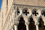 Detail of stone work - The Doge's Palace - Venice Italy. .<br /> <br /> Visit our ITALY HISTORIC PLACES PHOTO COLLECTION for more   photos of Italy to download or buy as prints https://funkystock.photoshelter.com/gallery-collection/2b-Pictures-Images-of-Italy-Photos-of-Italian-Historic-Landmark-Sites/C0000qxA2zGFjd_k<br /> <br /> <br /> Visit our MEDIEVAL PHOTO COLLECTIONS for more   photos  to download or buy as prints https://funkystock.photoshelter.com/gallery-collection/Medieval-Middle-Ages-Historic-Places-Arcaeological-Sites-Pictures-Images-of/C0000B5ZA54_WD0s
