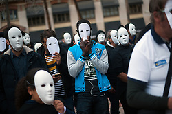 November 22, 2018 - Malaga, Spain - People with white masks take part in a flash mob organized by the humanitarian organization 'Caritas' to commemorates the International Homeless Day, which is celebrated on 27 november. (Credit Image: © Jesus Merida/SOPA Images via ZUMA Wire)