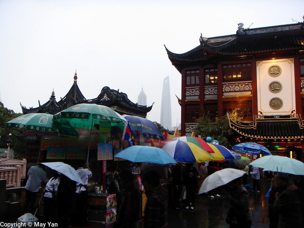 The rain pours down. Shanghai, China.