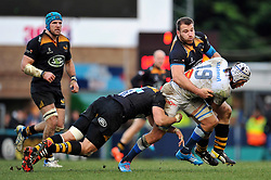 William Whetton of Castres Olympique is double-tackled by Tom Lindsay and Lorenzo Cittadini of Wasps - Photo mandatory by-line: Patrick Khachfe/JMP - Mobile: 07966 386802 14/12/2014 - SPORT - RUGBY UNION - High Wycombe - Adams Park - Wasps v Castres Olympique - European Rugby Champions Cup
