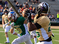 The Souths D'Marcus Ross (25) of Capital Christian High School, catches the ball for a touchdown making the score 14-3 after the point after attempt was good as the North faces the South during the annual 61st Optimist All-Star Football game at hornet stadium at California State University, Sacramento, Saturday Jan 19, 2019.