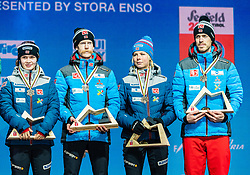 02.03.2019, Seefeld, AUT, FIS Weltmeisterschaften Ski Nordisch, Seefeld 2019, Siegerehrung, im Bild Bronzemedaillengewinner Anna Odine Stroem (NOR), Robert Johansson (NOR), Maren Lundby (NOR), Andreas Stjernen (NOR) // Bronzemedaillengewinner Anna Odine Stroem (NOR) Robert Johansson (NOR) Maren Lundby (NOR) Andreas Stjernen (NOR) during the winner Ceremony for the FIS Nordic Ski World Championships 2019. Seefeld, Austria on 2019/03/02. EXPA Pictures © 2019, PhotoCredit: EXPA/ Stefan Adelsberger