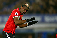 Paul Pogba of Manchester United reacts and shouts his instructions to his teammates. Premier league match, Everton v Manchester Utd at Goodison Park in Liverpool, Merseyside on New Years Day, Monday 1st January 2018.<br /> pic by Chris Stading, Andrew Orchard sports photography.