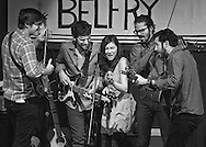 """Heather Maloney and Darlingside performing """"Woodstock"""" at the Belfry during the Friday session of the Sisters Folk Festival."""