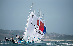 03.08.2012, Bucht von Weymouth, GBR, Olympia 2012, Segeln, im Bild Tabata Wakako, (JPN, 470 Women).Huang Xufeng, Wang Xiaoli, (CHN, 470 Women).Rechichi Elise, Stowell Belinda, (AUS, 470 Women) // during Sailing, at the 2012 Summer Olympics at Bay of Weymouth, United Kingdom on 2012/08/03. EXPA Pictures © 2012, PhotoCredit: EXPA/ Juerg Kaufmann ***** ATTENTION for AUT, CRO, GER, FIN, NOR, NED, POL, SLO and SWE ONLY!