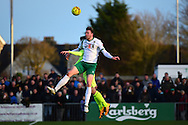 Bognor Regis Town forward Jimmy Wild (9) heads the ball during the Ryman Premier League match between Bognor Regis Town and Havant & Waterlooville FC at Nyewood Lane, Bognor, United Kingdom on 26 December 2016. Photo by Jon Bromley.