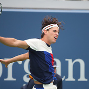 2017 U.S. Open Tennis Tournament - DAY TWO. Dominic Thiemof Austria in action against Alex de Minaur of Australia during the Men's Singles round one at the US Open Tennis Tournament at the USTA Billie Jean King National Tennis Center on August 29, 2017 in Flushing, Queens, New York City. (Photo by Tim Clayton/Corbis via Getty Images)