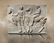 Releif Sculptures from the frieze around the Parthenon Block V. From the Parthenon of the Acropolis Athens. A British Museum Exhibit known as The Elgin Marbles .<br /> <br /> If you prefer to buy from our ALAMY STOCK LIBRARY page at https://www.alamy.com/portfolio/paul-williams-funkystock/greco-roman-sculptures.html . Type -    Elgin    - into LOWER SEARCH WITHIN GALLERY box - Refine search by adding a subject, place, background colour, etc.<br /> <br /> Visit our ROMAN WORLD PHOTO COLLECTIONS for more photos to download or buy as wall art prints https://funkystock.photoshelter.com/gallery-collection/The-Romans-Art-Artefacts-Antiquities-Historic-Sites-Pictures-Images/C0000r2uLJJo9_s0