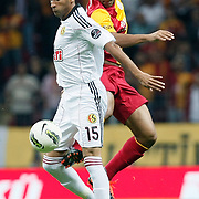 Galatasaray's Felipe MELO (R) and Eskisehirspor's Diomansy Mehdi Moustapha KAMARA (L) during their Turkish Super League soccer match Galatasaray between Eskisehirspor at the TT Arena at Seyrantepe in Istanbul Turkey on Monday, 26 September 2011. Photo by TURKPIX