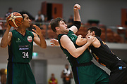 Supercity Rangers Marcel Jones looks on as Supercity Rangers Dillon Boucher and Taylor Hawks Jarrod Kenny tussle in the Sal's Pizza NBL Round 8 match, Hawkes Bay Hawks vs Auckland Rangers, Pettigrew Green Arena, Napier, Saturday, June 16, 2018. Copyright photo: Kerry Marshall / www.photosport.nz
