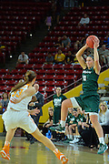 March 18, 2016; Tempe, Ariz;  Green Bay Phoenix forward Mehryn Kraker (10) saves a pass during a game between No. 7 Tennessee Lady Volunteers and No. 10 Green Bay Phoenix in the first round of the 2016 NCAA Division I Women's Basketball Championship in Tempe, Ariz.