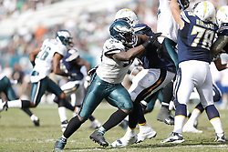 Philadelphia Eagles outside linebacker Trent Cole #58 moves towards the quarterback  during the NFL game between the San Diego Chargers and the Philadelphia Eagles in Philadelphia. The Chargers won 33-30. (Photo by Brian Garfinkel)