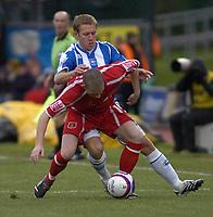 Photo: Matt Bright/Sportsbeat Images.<br /> Brighton & Hove Albion v Carlisle United. Coca Cola League  1. 24/11/2007.<br /> Matt Richards of Brighton & Joe Garner challenge for the ball