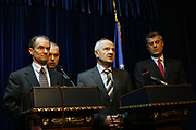 """""""With, or without deal, EULEX must deploy in Kosovo""""<br />  <br /> Pristina, Kosovo<br /> Monday, November 17, 2008<br />  <br /> Kosovo's Monday continue with negotiations for the UN 6 points plane, Kosovo leaders today negotiates with US for the EULEX deployment in Kosovo.<br />  <br /> The US assistant Secretary for the Bureau of European and Eurasian Affairs Daniel Fried in a talks meeting with Kosovo prime minister Hashim Thaci and President Sejdiu re-highlight that US support the UN 6 points plane """"of course United States support the UN 6 points plane, but in Kosovo we have to do with a sovereign country, Kosovo now has its sovereign leaders and their will is against this plane and we have to respect it"""" says Fried, regarding to the UN 6 point plane.<br />  <br /> Mr. Fried told reporters that the EULEX mission in Kosovo must start as soon as possible """"its necessary that the EULEX deployment happens at least 2nd December '08, even if there's not any deal regarding to the UN 6 points plane"""" add Daniel Fried.<br /> President Sejdiu told reporters that the US is not making any pressure to the Kosovo leaders, """"we talk today with our best friend US and we show's Mr. Fried our statement regarding to the UN 6 points plane, he also understood nearly that we are against this plane"""" says president Sejdiu.<br /> On the other side Kosovo prime Minister Hashim Thaci re-highlight the Kosovo government statement against UN 6 points plane and he do thanks the US government for that they do support Kosovo in any situation """"We're thankfully to the US for that what the US government and US people done for us"""" says prime Minister Thaci. """"Regarding to the UN 6 points plane, Kosovo will not change its position, we already have our decisive statement against this plane made in Belgrade and proposed by the United Nations"""" add Prime Minister Thaci.<br /> Vedat Xhymshiti / ZUMA Press"""