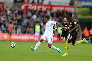 Leroy Fer of Swansea city in action (l). Premier league match, Swansea city v Manchester city at the Liberty Stadium in Swansea, South Wales on Saturday 24th September 2016.<br /> pic by Andrew Orchard, Andrew Orchard sports photography.