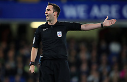"""Referee Christopher Kavanagh during the Carabao Cup, Third Round match at Stamford Bridge, London. PRESS ASSOCIATION Photo. Picture date: Wednesday September 20, 2017. See PA story SOCCER Chelsea. Photo credit should read: Mike Egerton/PA Wire. RESTRICTIONS: EDITORIAL USE ONLY No use with unauthorised audio, video, data, fixture lists, club/league logos or """"live"""" services. Online in-match use limited to 75 images, no video emulation. No use in betting, games or single club/league/player publications."""