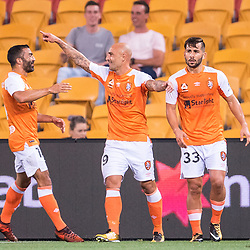 BRISBANE, AUSTRALIA - OCTOBER 13: Massimo Maccarone of the Roar celebrates scoring a goal during the Round 2 Hyundai A-League match between Brisbane Roar and Adelaide United on October 13, 2017 in Brisbane, Australia. (Photo by Patrick Kearney)