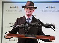 National Hunt Horse Racing - 2019 Cheltenham Festival - Friday, Day Four (Gold Cup Day)<br /> <br /> Willie Mullins is presented with the leading trainer award for the Festival at Cheltenham Racecourse.<br /> <br /> COLORSPORT/ANDREW COWIE