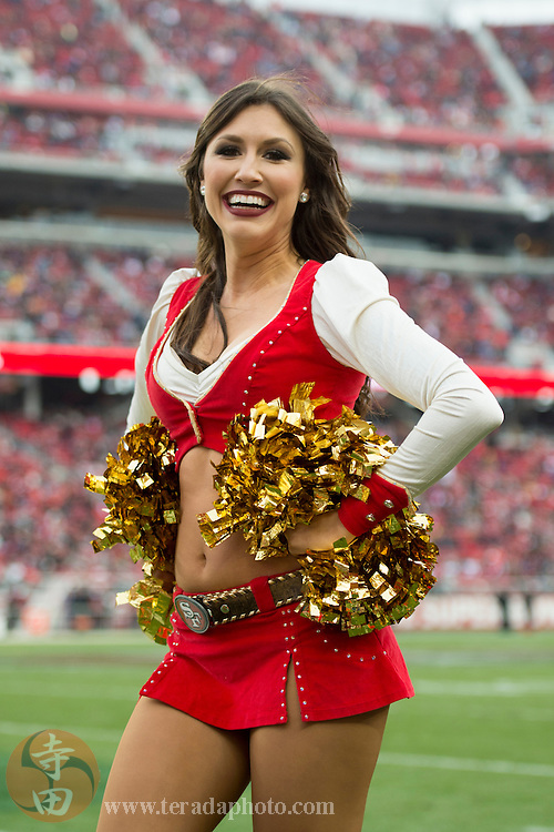 January 3, 2016; Santa Clara, CA, USA; San Francisco 49ers Gold Rush cheerleader Kiirsta performs during halftime against the St. Louis Rams at Levi's Stadium. The 49ers defeated the Rams 19-16.