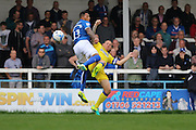 AFC Wimbledon defender & captain Barry Fuller (2) and Rochdale FC midfielder Nathaniel Mendez-Laing (11) during the EFL Sky Bet League 1 match between Rochdale and AFC Wimbledon at Spotland, Rochdale, England on 27 August 2016. Photo by Stuart Butcher.