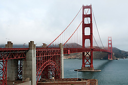 View from the South of The Golden Gate Bridge. At the Visitors Center Location. Archway and Fort Point.