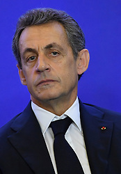 French right-wing party Les Republicains (LR) president Nicolas Sarkozy during a meeting with LR mayors, as part of the 99th Congress of the French Mayors Association (AMF), at the LR headquarters in Paris, France on June 1, 2016. Nicolas Sarkozy recently mentioned a possible ticket with Francois Baroin for their party's primary presidential elections. Photo by Christian Liewig/ABACAPRESS.COM