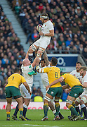 Twickenham, United Kingdom. Tom WOOD'S Holding the line out ball, supported by {L} Dan COLE and {R} Courtney LAWES, during the Old Mutual Wealth Series Rest Match: England vs Australia, at the RFU Stadium, Twickenham, England, <br /> <br /> Saturday  03/12/2016<br /> <br /> [Mandatory Credit; Peter Spurrier/Intersport-images]