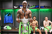 Forest Green Rovers Shamir Mullings(18) with the trophy during the Vanarama National League Play Off Final match between Tranmere Rovers and Forest Green Rovers at Wembley Stadium, London, England on 14 May 2017. Photo by Shane Healey.