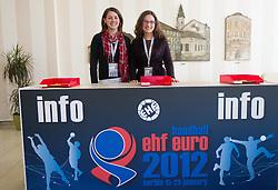 Volunteers during 1st day of 10th EHF European Handball Championship Serbia 2012, on January 15, 2012 in Hotel Srbija, Vrsac, Serbia.  (Photo By Vid Ponikvar / Sportida.com)