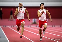 Harvard University<br /> Crimson Elite Indoor track & field meet<br /> men 60m qualifying, Williams, Sasaki,