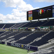 Empty stadium seats are seen during the Orlando City Soccer club MLS practice at the Florida Citrus Bowl on Wednesday, March 4, 2015 in Orlando, Florida. The first season for the Lions begins Sunday and over 60,000 tickets have been sold for the home opener, though a league wide player strike may occur prior to the beginning of the scheduled season. (AP Photo/Alex Menendez)