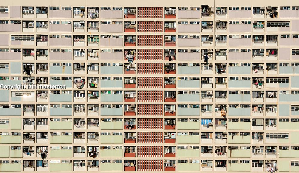 Old apartment blocks at Choi Hung in Kowloon, Hong Kong.
