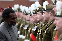 Soldiers from 2nd Battalion The Royal Welsh celebrate St David's Day with parade at Lucknow Barracks, Tidworth Camp, Wilts, where miniature leeks was presented for each soldier to wear on their berets and attended by Zulu leader, Chief Buthelezi.