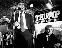 May 4, 1989 - Longmeadow, Massachusetts, U.S. - DONALD TRUMP visited Milton Bradley in East Longmeadow, Mass., Thursday May 4, 1989, to meet with producers of his new game,''Trump: The Game.'' The New York real estate magnate stepped down from his shiny black helicopter at Milton Bradley Co. for an hour to celebrate a new board game named for him. He pledged to give away his royalties from sales of Trump the Game to the homeless and research on AIDS, multiple sclerosis and other diseases. The slogan of the game reads ''It's not whether you win or lose but whether you win!'' Trump is now running in the 2016 United States Presidential election. (Credit Image: © Renee C. Byer/ZUMA Wire/ZUMAPRESS.com)