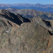 The ridge connecting Grizzly Peak (13,427 feet) to Lenawee Mountain (13,204 feet) and on to Arapahoe Basin ski area, from the summit of Grizzly Peak.