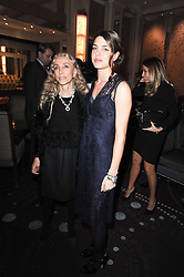 Left to right, FRANCA SOZZANI editor of Vogue Italia and CHARLOTTE CASIRAGHI at the Liberatum Dinner hosted by Ella Krasner and Pablo Ganguli in honour of Sir V S Naipaul at The Landau at The Langham, Portland Place, London on 23rd November 2010.