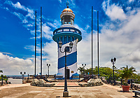 Guayaquil , Ecuador- March 8 , 2020 : Lighthouse of Santa Anna fort Las Penas district landmark of Guayaquil  Ecuador in south america