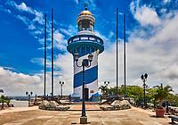Guayaquil , Ecuador- March 8 , 2020 : Lighthouse of Santa Anna fort Las Penas district landmark of Guayaquil  Ecuador in south america