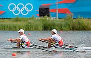 Eton Dorney, Windsor, Great Britain,..2012 London Olympic Regatta, Dorney Lake. Eton Rowing Centre, Berkshire[ Rowing]...Description;  Men's B Final Double Sculls.  NOR M2X, Nils Jakob HOFF (b) , Kjetil BORCH (s)   AUS.M2X. David CRAWSHAY (b) , Scott BRENNAN (s).. Dorney Lake. 09:56:16  Thursday  02/08/2012.  [Mandatory Credit: Peter Spurrier/Intersport Images].Dorney Lake, Eton, Great Britain...Venue, Rowing, 2012 London Olympic Regatta...