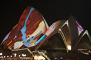 Sydney Opera House with themed illuminations that colour it as part of the Luminous festival curated by Brian Eno. Pics: Paul Lovelace 14.06.09
